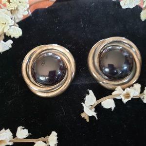 Jewelry - Large vintage black silver tone earrings